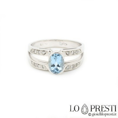 18K white gold ring with aquamarine and diamonds