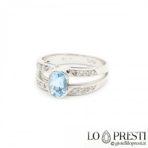 Anello oro bianco 18Kt con acquamarina e diamant