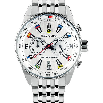 Clock navigate Portofino model, quartz chronograph, water resistant 5 ATM, stainless steel case and strap