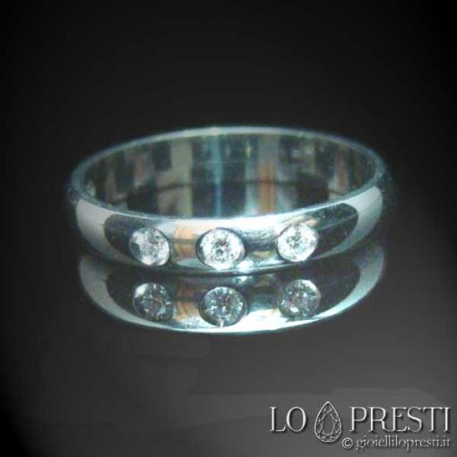 anello fedina trilogy con diamanti brillanti oro bianco giallo 18kt