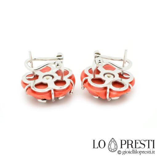 orecchini con corallo diamanti brillanti oro bianco orecchini fiore corallo rosso vero naturale