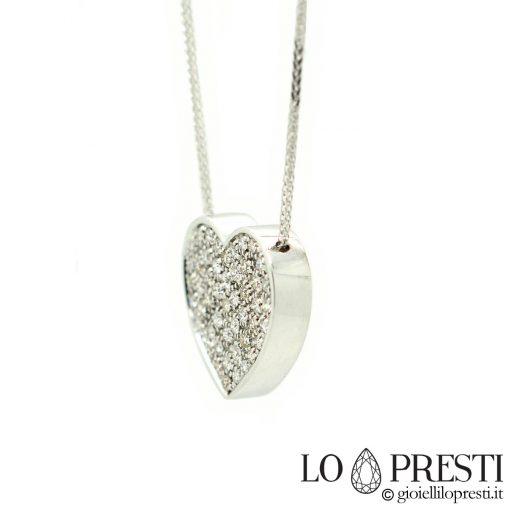 ciondolo pendente cuore diamante oro bianco 18kt artigianale 18kt white gold diamond heart pendant