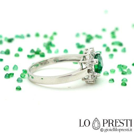 anello di fidanzamento con smeraldo e diamanti anello anelli fidanzamento