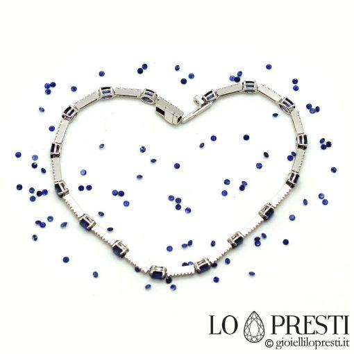 bracciale tennis con diamanti zaffiri naturali oro bianco 18kt
