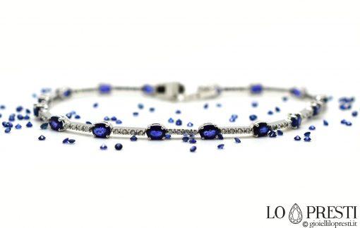 tennis con zaffiri blu naturali diamanti
