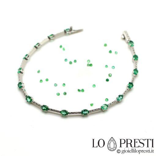 bracciale tennis con smeraldi naturali e diamanti certificati