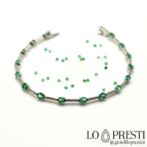 bracciale tennis oro 18kt diamanti smeraldi