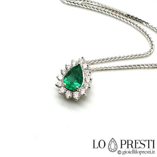 collane ciondoli smeraldo taglio goccia diamanti oro bianco 18kt necklaces pendants natural emerald drop cut diamonds 18kt white gold