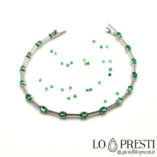 tennis con smeraldi diamanti brillanti oro 18kt