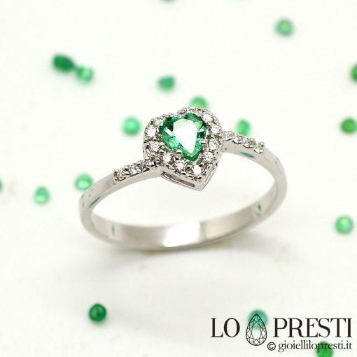 anello cuore oro bianco con smeraldo diamanti brillanti smeraldi