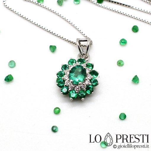 ciondolo smeraldo smeraldi naturale diamanti brillanti pendant with emerald emeralds natural brilliant diamonds