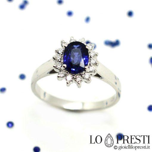 anello con zaffiro anello fidanzamento anello matrimonio anello con zaffiro e diamanti