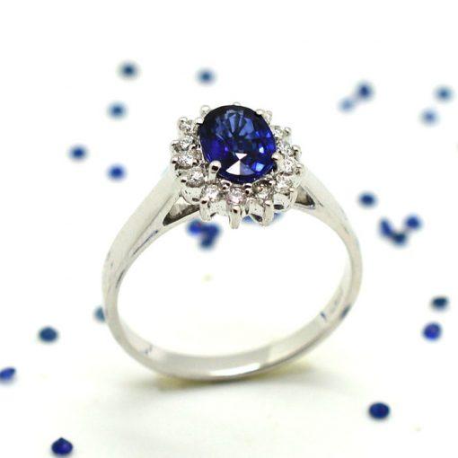 anello con zaffiro e diamanti brillanti anello con zaffiri e diamanti gioielli con zaffiro oro bianco