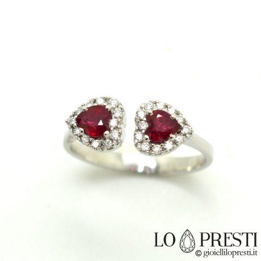 anello forma cuore rubini diamanti oro bianco