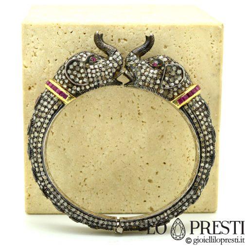 bracciale con teste di elefanti stile antico diamanti rubini