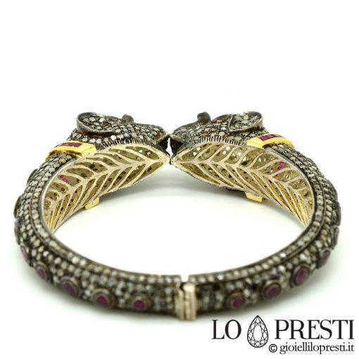 bracciale rigido con diamanti rubini forma elefante