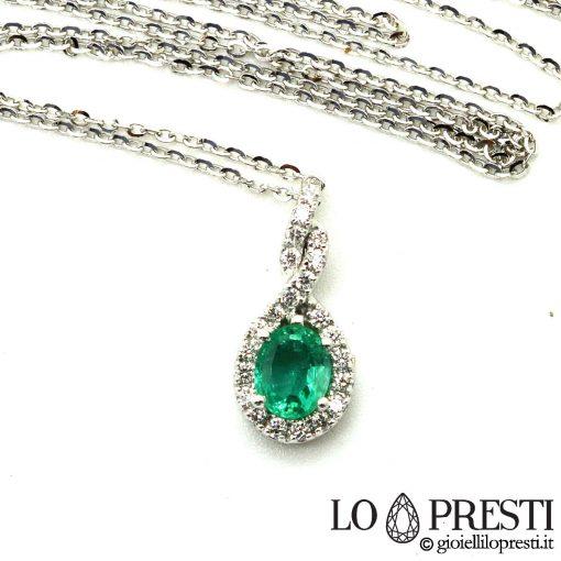 ciondolo smeraldo pendente smeraldi diamanti oro bianco 18kt natural emerald pendant emeralds 18kt white gold diamonds