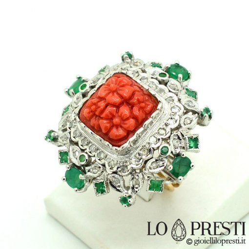anello con corallo rosso naturale torre del greco anello artigianale Italian handmade ring with natural Greek tower