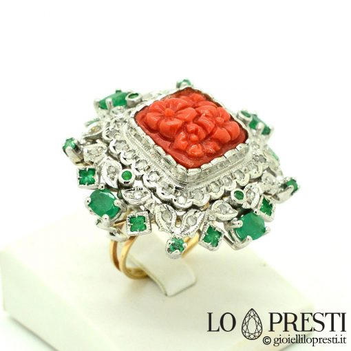 anello vintage argento oro con corallo rosso naturale vintage silver gold ring with natural red coral