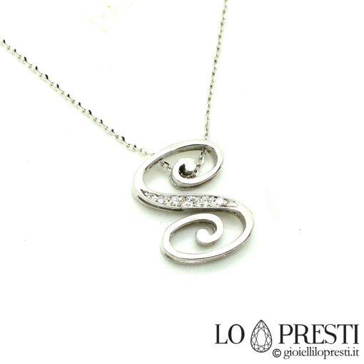 collana ciondolo lettera s oro diamanti gioiello artigianale