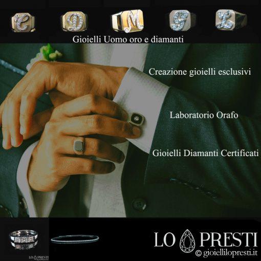 gioielli-uomo-anelli-uomo iniziali-lettere-anelli-uomo-chevalier-anelli-uomo-con-diamanti