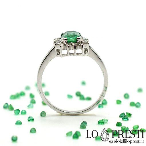 anelli con smeraldo pietre preziose con diamanti brillanti oro bianco 18kt anello artigianale con smeraldo