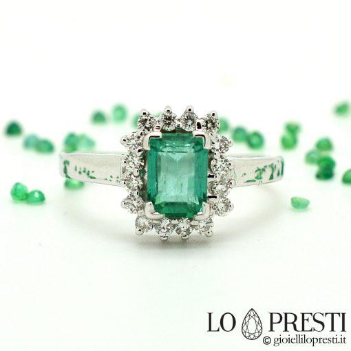 anello con smeraldo anello con smeraldi anello oro bianco 18 kt con diamanti brillanti smeraldi
