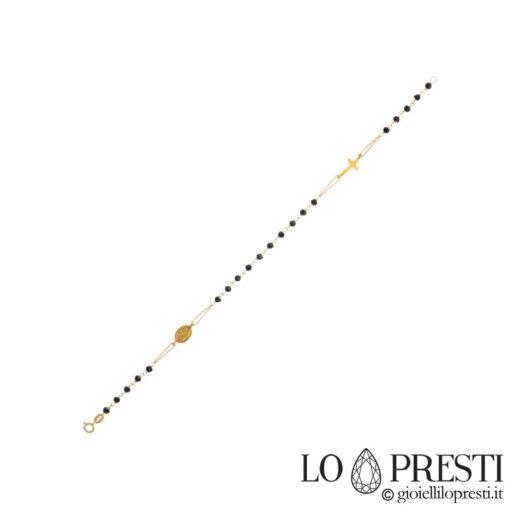 bracciale rosario D&G in oro e onice pietre nere