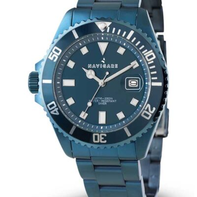 orologio uomo watch navigare cuba blue movimento miyota quarzo con data acciaio ip blue water resistant 10ATM