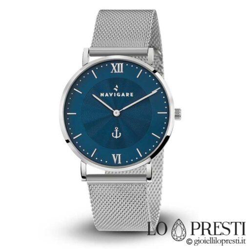 orologio watch uomo navigare watches itaca blue movimento quarzo acciaio cinturino maglia milano