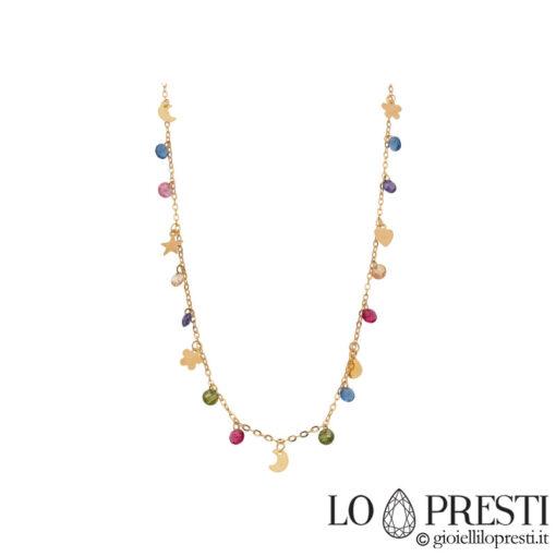 collana girocollo catena donna oro con pietre colorate charms ciondoli luna stella cuore quadrifoglio
