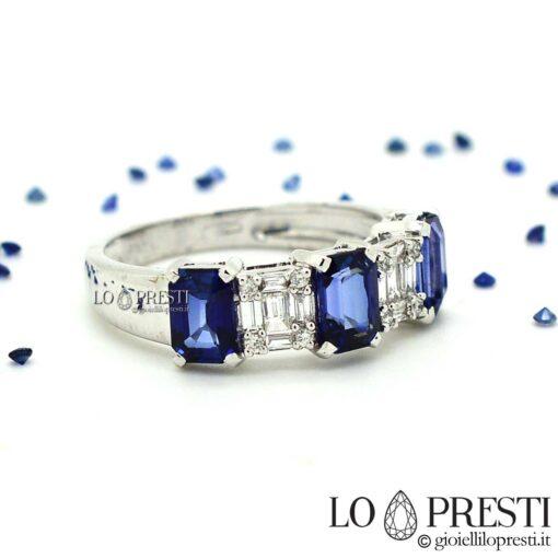 anello anelli con zaffiro zaffiri blu taglio baguette oro bianco anelli eternity