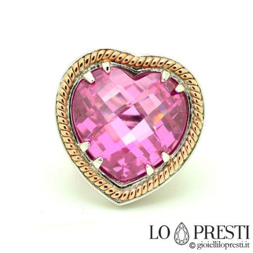 Anello cuore quarzo rosa donna