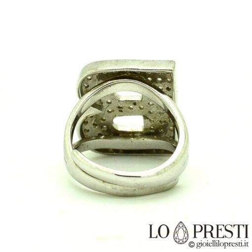 anello lettera iniziale B argento 925 e zirconi