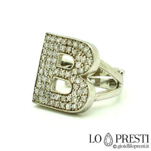 anello lettera iniziale B argento